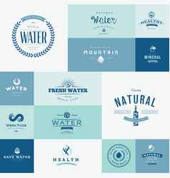 set flat design signs for water vector image