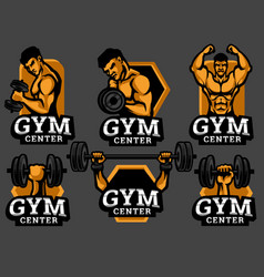 Set gym and fitness logo vector