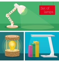 Set of desk lamps Various author s design vector
