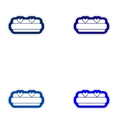 Set of paper stickers on white background bed vector