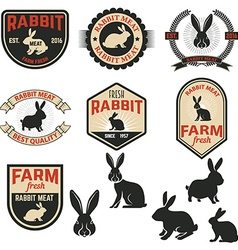 Set of rabbit meat labels badges and design vector