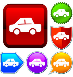 Set shiny icon series on buttons car vector