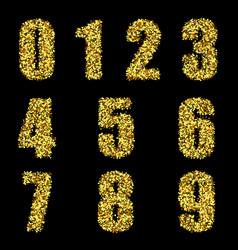 set stylized gold textured numbers with vector image