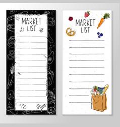 Set templates for market list grocery cart vector