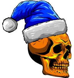 skull christmas santa clous vector image