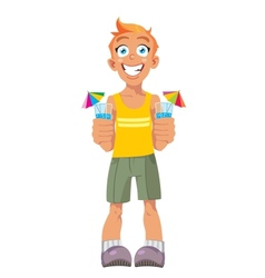 smiling boy and drinks vector image vector image