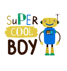 super cool boy design t-shirt flat character vector image