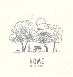 trees and house vector image