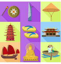 Vietnam icon set flat style vector