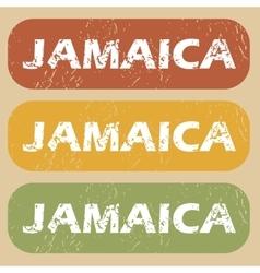 Vintage Jamaica stamp set vector