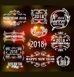vintage neon frames for happy new year vector image