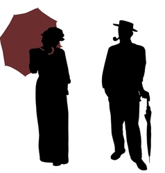 Vintage people silhouettes vector