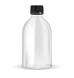 white empty bottle with black lid container vector image
