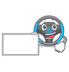 With board steering wheel isolated in cartoon vector