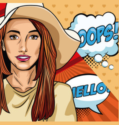 woman with oops bubble pop art vector image