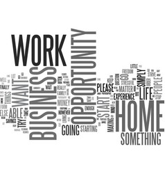 Work at home business opportunity text word cloud vector