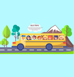 yellow school bus wiith small students poster vector image