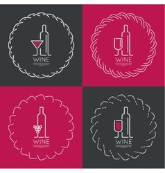 Bottle of wine with a glass wine vector image