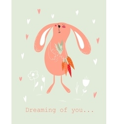 Bunny with carrots card vector image vector image