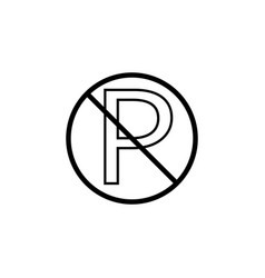 no parking line icon prohibition sign vector image