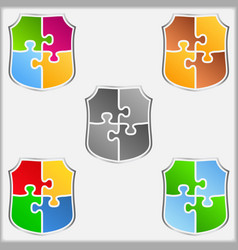 Puzzle Shields vector image vector image