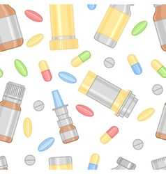 Colored Pills and Drugs in Seamless Pattern vector image