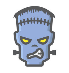 frankenstein filled outline icon halloween scary vector image