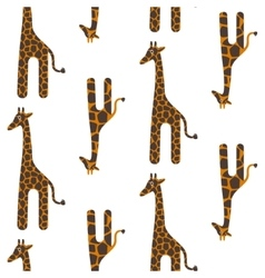 Giraffe cute seamless pattern Safari vector image vector image