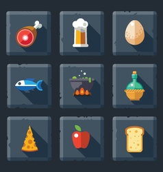 Relief food game icon set vector image vector image