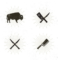 Set of steak house butcher house and meat tools - vector image vector image