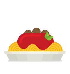 spaghetti on plate flat style vector image vector image