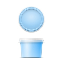 Blue plastic spread container template vector image