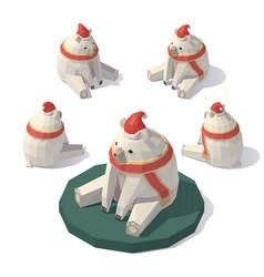 low poly christmas polar bear vector image vector image