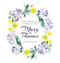 Save the date love card with watercolor flowers vector image vector image