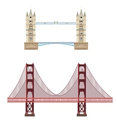 Tower and golden gate bridge vector image