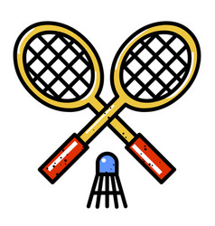 cartoon image of badminton icon sport symbol vector image vector image