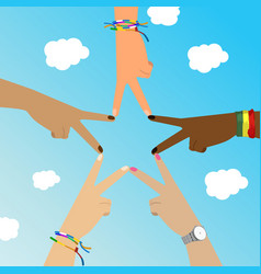 multiracial hands make star sign over sky vector image vector image