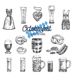 Octoberfest set Beer products vector image