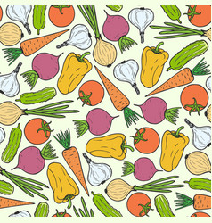 seamless pattern of vegetables carrot garlic vector image vector image