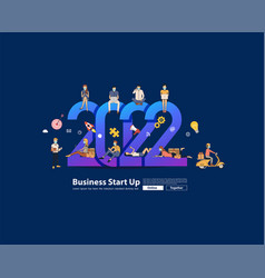 2022 new year business people working together vector