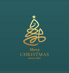abstract christmas tree sign emblem or vector image
