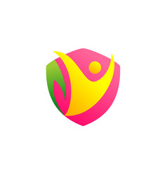 abstract people shield icon logo vector image