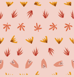 Abstract stylized leaves seamless doodle vector