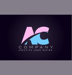 Ac alphabet letter join joined letter logo design vector