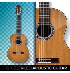 Acoustic guitar isolated on transparent background vector