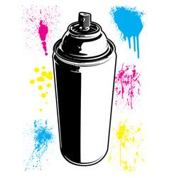 Aerosol can with paint splatter textures set vector