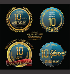 Anniversary gold and blue labels and badges 10 vector