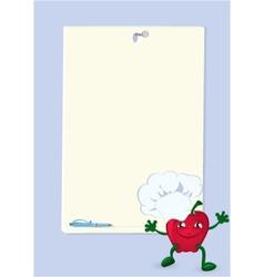 Apple cartoon character near menu board vector image