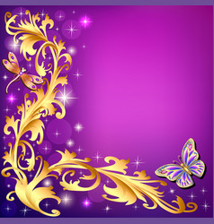 background with butterflies and ornaments made of vector image