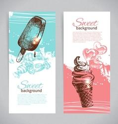 Banner set of vintage hand drawn sweet background vector image vector image